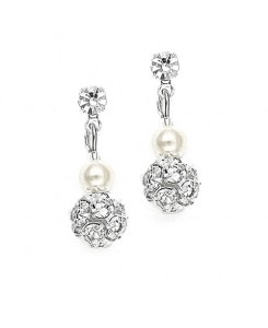 Dainty Wedding Earrings with Pearl & Rhinestone Fireball