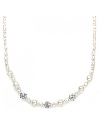 Best Selling Bridal Necklace with Pearls & Rhinestone Fireballs