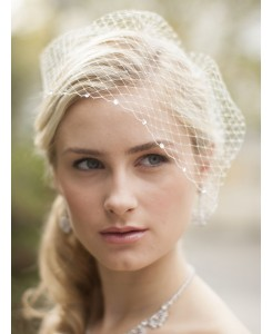 French Net Bridal Birdcage Visor Veil with Swarovski Crystals