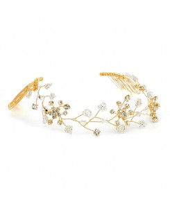 Swarovski Crystal Bridal Tiara Vine in Gold