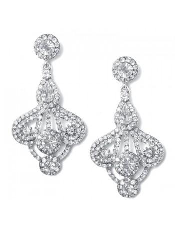 Art Deco Fan Rhinestone Earrings