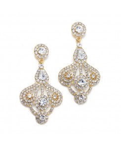 Art Deco Fan Rhinestone Earrings