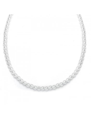 Single Strand 6mm Pearl Wedding Necklace