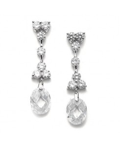 CZ Bridal Earrings with Faceted Crystal Drops