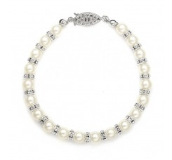 Alternating Pearl and Rondelle Wedding Bracelet