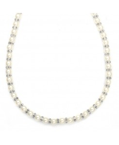 Alternating Pearl and Rondelle Wedding Necklace