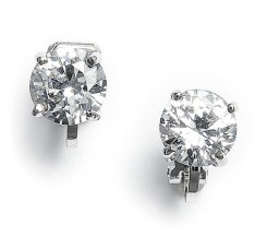 Clip-On Earrings with 8mm CZ Solitaire