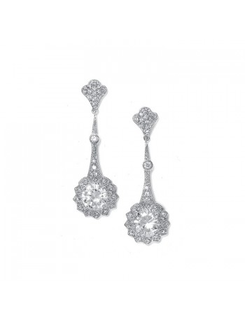 Cubic Zirconia Vintage Bridal Earrings with Round Solitaire