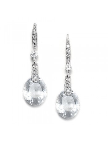Vintage CZ Wedding Earrings with Faceted Crystal Drops