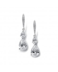Vintage Teardrop Bridal or Bridesmaid CZ Earrings