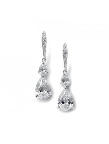 Vintage Teardrop Bridal or Bridesmaid CZ Earrings
