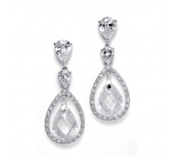 Bridal Earrings with Faceted Pear-shaped Drops