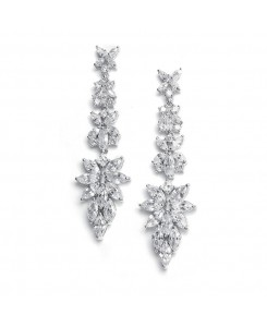 Bridal Earrings with Cubic Zirconia Marquis Cluster