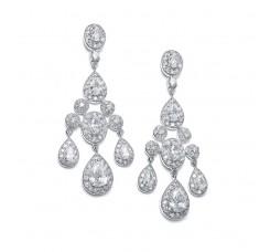 Regal Wedding Chandelier Earrings in Pave Encrusted CZ