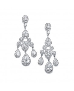 Regal Wedding Chandelier Earrings in Pave Encrusted CZ