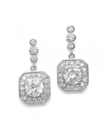 CZ Art Deco Tailored Wedding Earrings