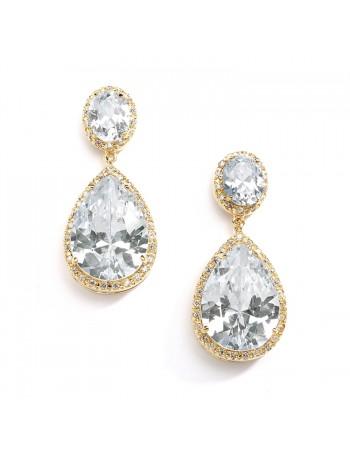 Best-Selling Gold CZ Pear-Shaped Drop Bridal Earrings