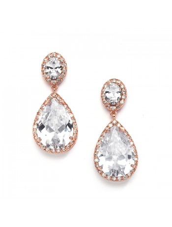 Best-Selling Cubic Zirconia Rose Gold Pear-Shaped Bridal Earrings