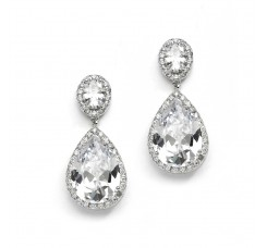 Beautiful CZ Pear-shaped Drop Bridal Earrings