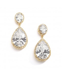 Best-Selling Cubic Zirconia 14K Gold Plated Pear-Shaped Bridal Earrings with Clip Back