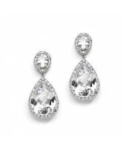 Beautiful CZ Pear-shaped Drop Bridal Earrings - Clip