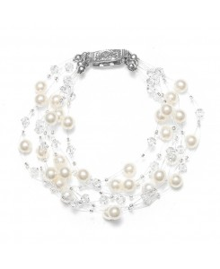 Lavish 6-Row Pearl & Crystal Bridal Illusion Bracelet