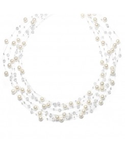 Lavish 6-Row Pearl & Crystal Bridal Illusion Necklace