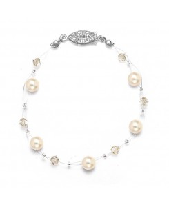 Pearl & Crystal Bridal or Bridesmaids Illusion Bracelet