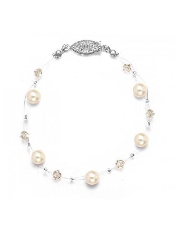 Pearl & Crystal Bridal or Bridesmaids Illusion Bracelet