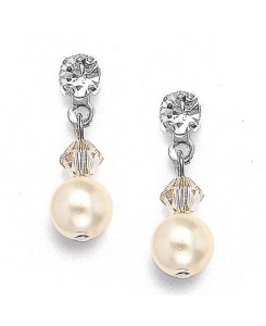 Classic Pearl & Crystal Drop Bridal or Bridesmaids Earrings