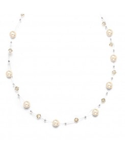 Pearl & Crystal Bridal or Bridesmaids Illusion Necklace