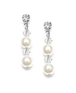 Pearl & Crystal Dangle Wedding Earrings