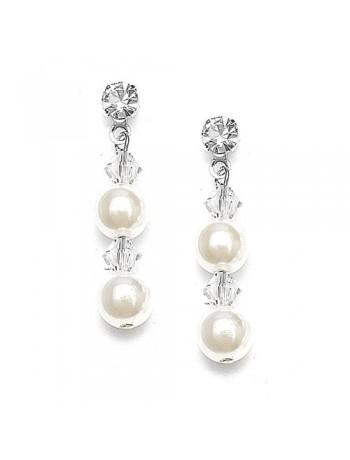 Pearl & Crystal Dangle Wedding Earrings