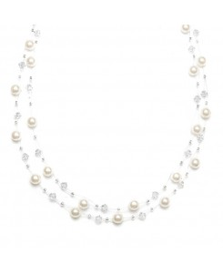 2-Row Pearl & Crystal Bridal Illusion Necklace