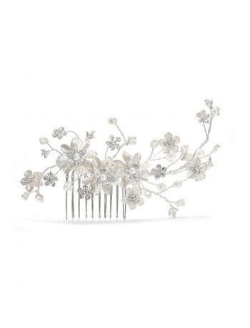 Pearl and Crystal Bridal Comb with Soft Rum