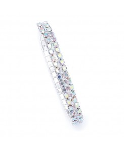 2-Row Iridescent Rhinestone Stretch Bracelet