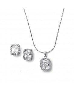 CZ Cushion Cut Bride or Bridesmaid Necklace Set