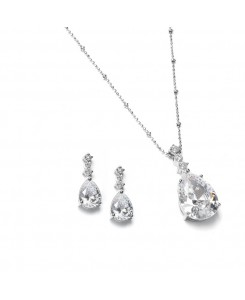 Brilliant CZ Pear Shaped Drop Necklace Set