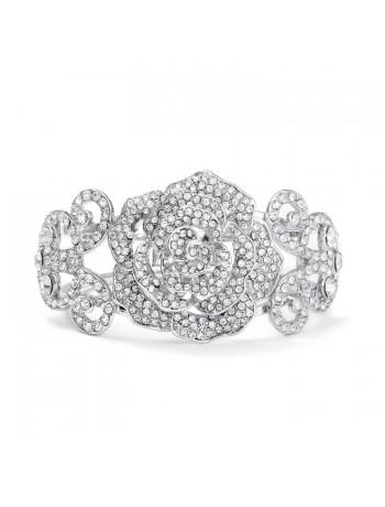 Pave Designer Etched Rose Cuff Bracelet