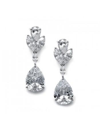 Large Pear Shaped Cubic Zirconia Drop Earrings
