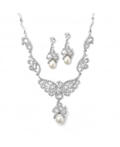 Magnificent CZ Pave Scroll Bridal Necklace Set with Pearl