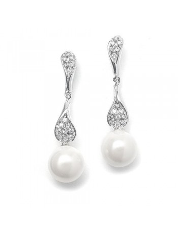 Curved CZ Pave Dangle Earrings with Pearl