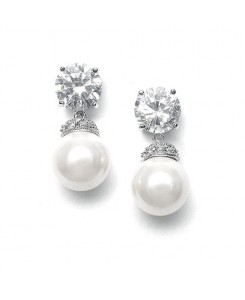 Round CZ Wedding Earrings with Bold Pearl