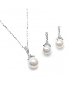 Pearl Drop Necklace Set with Vintage CZ