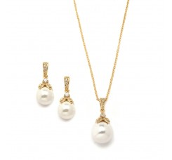 Gold Pearl Drop Necklace Set with Vintage CZ
