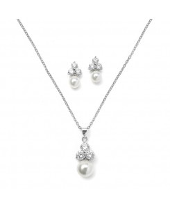 Bridal or Bridesmaid Necklace Set with Round CZ Trio