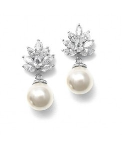 CZ Cluster Bridal Earrings with Pearl Drop