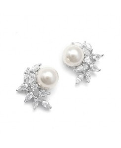 CZ Crescent Bridal Earrings with Pearl