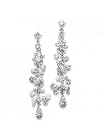 Dramatic Earrings with Cascading Clear Bubbles