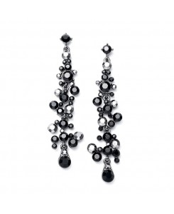 Dramatic Earrings with Cascading Jet Black Bubbles
